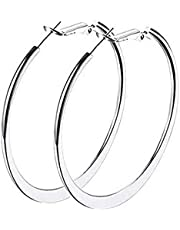 Silver Hoop Earrings for Women and Girls Size Large 5CM