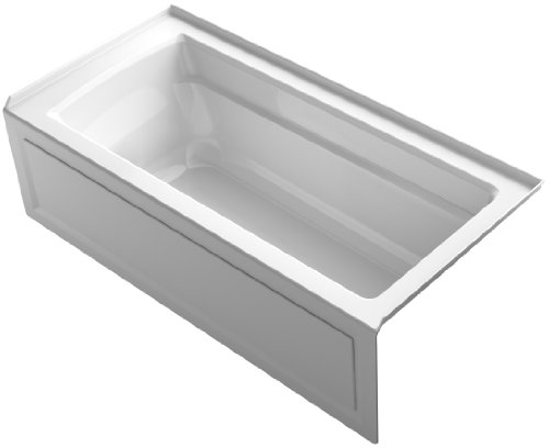 KOHLER K-1948-RA-0 Archer ExoCrylic 66-Inch x 32-Inch Three-Side Integral Flange Bath with Apron and Right-Hand Drain, White