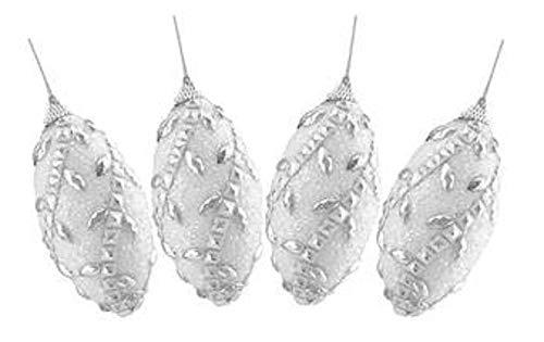 Northlight Set of 4 White Elegant Rhinestone and Beaded Shatterproof Christmas Finial Ornaments 4.5