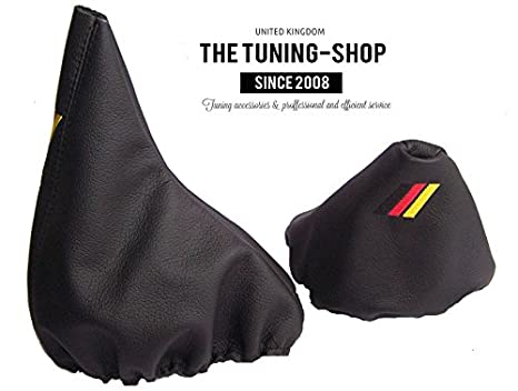 Gear Handbrake Gaiter Manual Black Leather With M3 Sign German Flag Colours