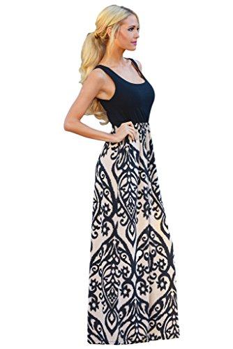 WESICA Women's Black Rosy Color Damask Print Sleeveless Long Boho Maxi Dress Sundress