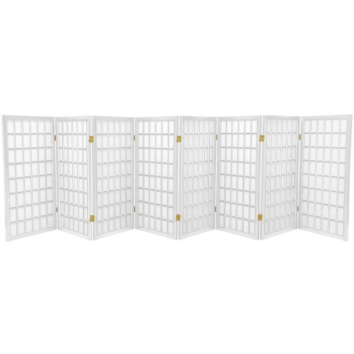 7 Panel Partition (Oriental Furniture 3 ft. Tall Window Pane Shoji Screen - White - 8 Panels)