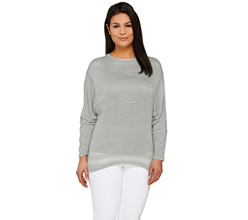 Lisa Rinna Collection Dolman Slv Sweater Knit Top  Grey  Xs