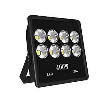 WEDO 400W Ultra Bright Outdoor LED Flood Light Reflector IP66 Waterproof Wall Yard Garden Projector Billboard Lamp Security Lights Daylight White 6500K (No Plug)