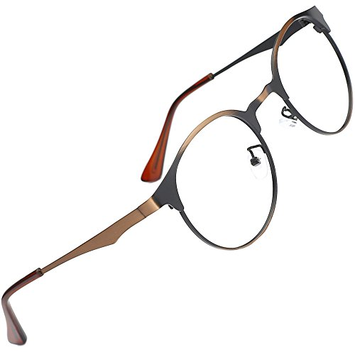 TIJN New Round Metal Non-prescription Glasses Frame with Clear - Glasses Frame Width