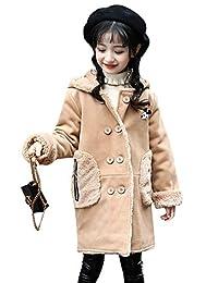 CUKKE Girls Hooded Woolen Coat Fleece Lined Winter Warm Overcoat Outerwear