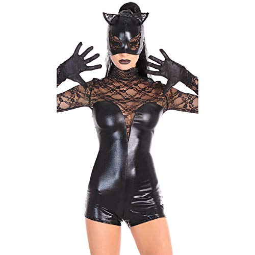 GYH Womens Lingerie Black Artificial Leather Mesh Stitching Jumpsuit Batman Woman Costume Halloween Cosplay -