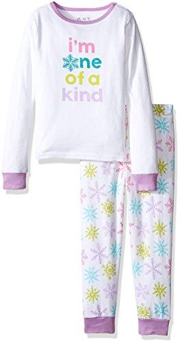 [The Children's Place Big Girls' 2-Piece Cotton Pajamas, Snowflake White, 8] (2 Snowflake)