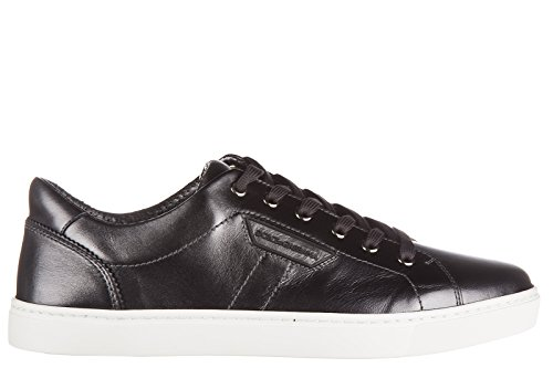 Dolce & Gabbana Men's Shoes Leather Trainers Sneakers Mordore Black US Size 7 CS1362 AC955 - And Dolce Gabbana Shoes 2014