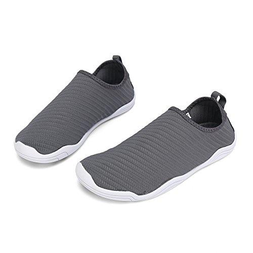 FCKEE Water Shoes Aqua Schuhe Slip-On Barfuß Leicht Leicht Quick-Dry Drainage Haltbare Sohle Mutifunktional für Beach Pool Surfen Frauen Männer T-tiefes Grau