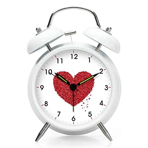 ZGY White Quartz Alarm Clock Creative Mute Night Light Shatter-Resistant Bedside Alarm Clock Rose Heart-Shaped Pattern Student Bed Small Bell Table 10.5 5.5 ()