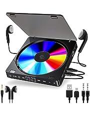 ACONAG Leitor de CD player portátil duplo versão de fone de ouvido botão touch button reprodutor cd walkman disciso recarregável display LCD à prova de choque (Color : Black)
