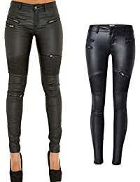91bbf0db453 PU Leather Denim Pants for Women Sexy Tight Stretchy Rider Leggings Black  Coffee