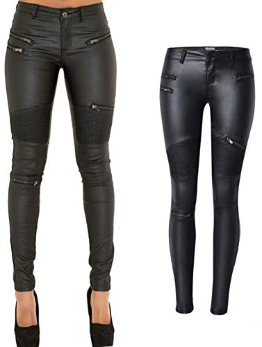 PU Leather Pants for Women Sexy Tight Stretchy Rider Leggings Black US 10 -