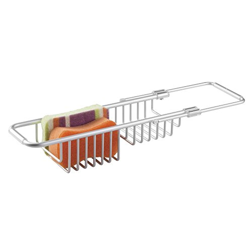 mDesign Modern Adjustable, Expandable Over Sink Sponger Holder Storage Center - Kitchen Organizer Caddy for Scrubbers, Dish Wands, Vegetable Brushes, Soap - Rust Free Aluminum - Silver
