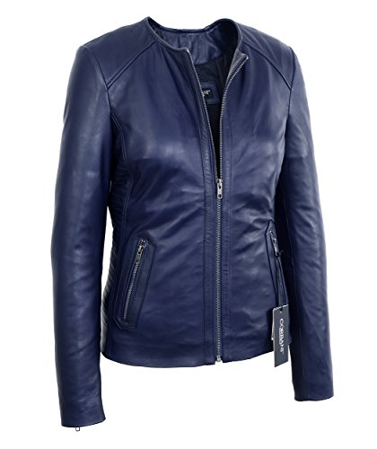 Womens Midnight Blue Collarless Lambskin Real Leather Jacket (Medium, Midnight Blue) -