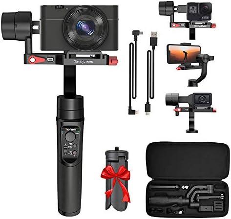 Hohem Isteady マルチ3軸ジンバルスタビライザー Sony RX100シリーズ、Sony RX0、X3000、Gopro Hero 7、iPhone X XR XS、手持ちジンバルスタビライザー アクションカメラ、デジタルカメラ、スマートフォン用三脚付き