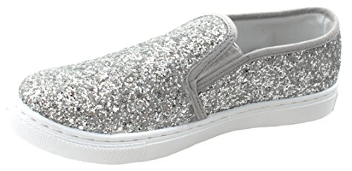 Fashion Sole Silver Slip Sneakers On ANNA Range Side Sequins 8 Thick Decorative Women's Support Elastic RxqTw60a