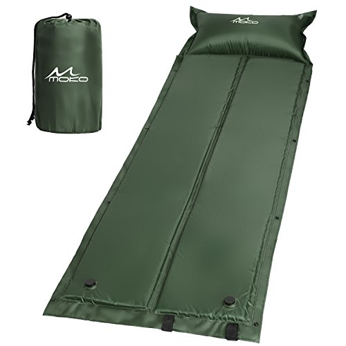 MoKo Outdoor Foldable Self-Inflating Sleeping Pad, Lightweight Portable Air Mattress Manual Pressure Inflation for Outdoor Camping, Hiking, Trekking, Backpacking and Water Activities - Army Green
