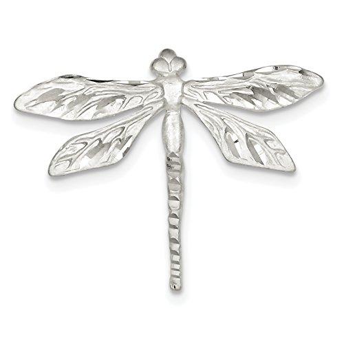 (925 Sterling Silver Satin Finish Diamond Cut Dragon Fly)