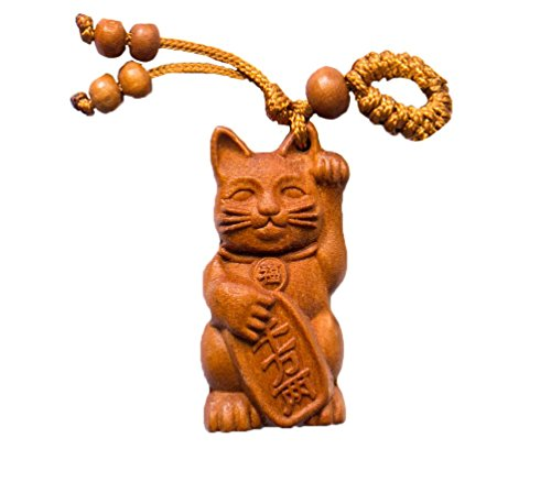 Japan Lucky Cat Maneki-Neko - Handmade RoseWood Fortune Protection, Good Luck Charms, Fortune Mantra 3D Design Back Side, Bring Good Luck in Financial and Love Life, Hand Crafted -