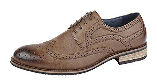 Hommes 4 œillet Brogue Cravate Chaussure avec Doublure En Cuir Marron - Brown Grain thpb1hgqU