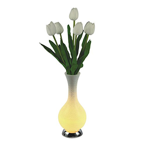 Timmins Premium Luminous LED Artificial Tulip Flower Vase Table Lamp Night Light Nightlight (White)