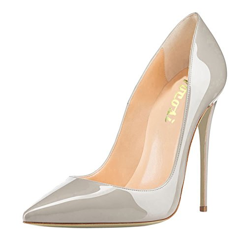 VOCOSI Women's Sexy Point Toe High Heels,Patent Leather Pumps,Wedding Dress Shoes,Cute Evening Stilettos Grey 8 US