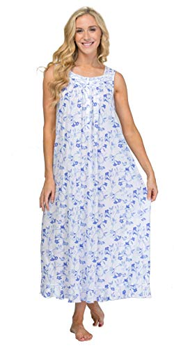 (Eileen West Cotton Modal Nightgown - Sleeveless Long Gown in Blue Song (White/Indigo Blue Floral, Small))