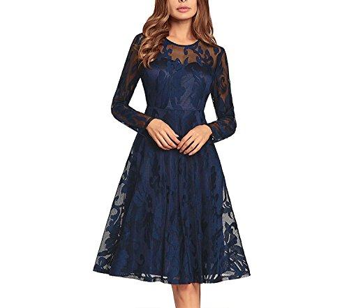 (better-caress-Hepburn style sleeveless dress Explosions Women's 2018new Lace Dress Big-Name Skirt Wholesale,Royal Blue,S)