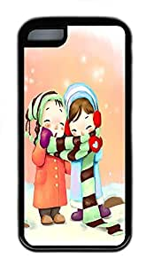 for iphone 5c Case Cute Couple Cartoons TPU Custom for iphone 5c Case Cover Black