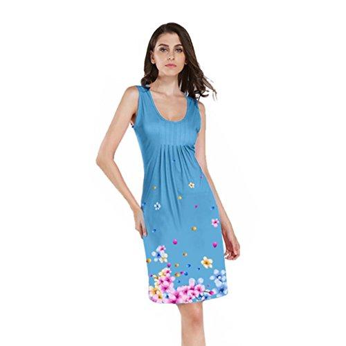 0beb8b86ea DAYLIN Newest Fashion Daily Women Sleeveless O Neck Floral Printed Evening  Party Above Knee Mini Beach Dress Blue  Amazon.co.uk  Clothing