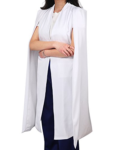 ASMAX HaoDuoYi Women Casual Open Front Cape Trench Duster Coat Longline Blazer(XXL,White)