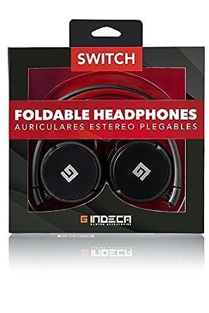 Indeca Gaming- Auriculares casco plegables para consola Nintendo Switch con conexión minijack