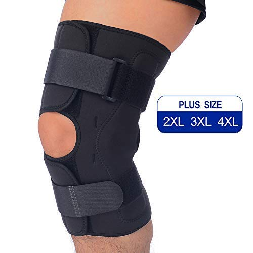 T TIMTAKBO Hinged Knee Brace Support,Metal Side Stabilizer,Open Patella,Wrap for Athletic Compression,Arthritis,Sports Trauma,Sprains,Pain Release and Injury Prevent(Longer Length 12″-3XL#-Update)
