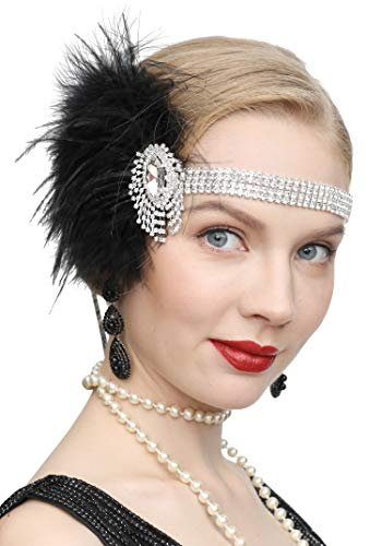1920s Gatsby Flapper Feather Headband 20s Accessories Roaring 20s Headpiece with Peacock Feather ()