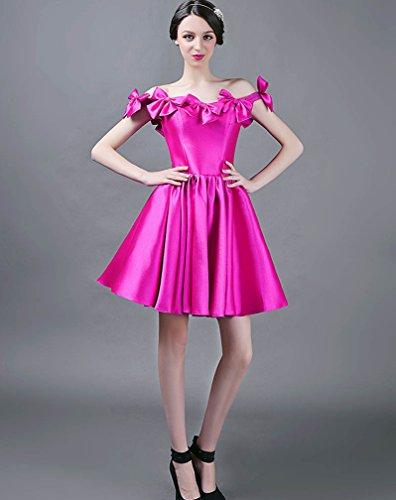 Per Fucsia Con 2016 Fiocco Vimans® Tracolla Eleganti Colore Donna Abiti Raso pantaloncini Di Da YXqvgX