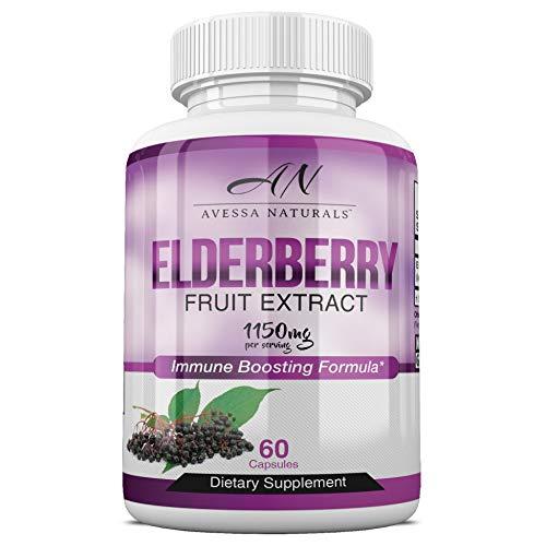 Premium Elderberry Immune Boosting Supplement | Natural Immunity Booster for Men & Women with Vitamins, Minerals & Antioxidants | Extra Strength | Healthy Sambucus Nigra Elderberry Extract | 1150mg