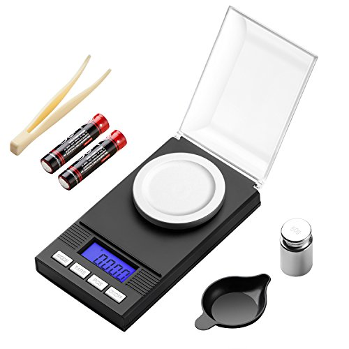 (KEEGH Digital Milligram Jewelry Scale 100g / 0.001g Reloading,High-Precision Pocket Scale,Tare & PCS Function, LCD Display with Calibration Weights and Batteries)