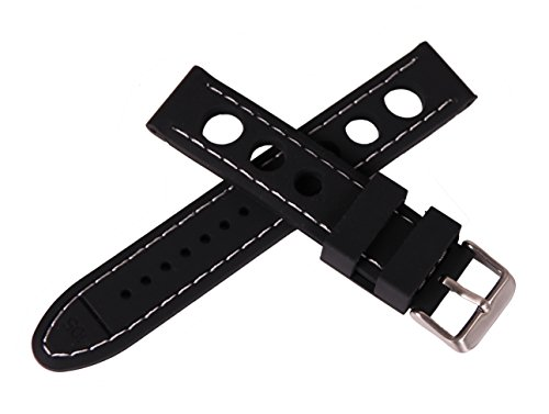 20mm Black Rally Watch Strap Silicone Smart Sport Watch Replacement Bracelet Contrasting White Stitch