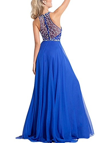 Back Dresses Sky Gown Beaded BD202 Chiffon Bodice Formal Prom Blue Party Through BessDress See qHF1wvq