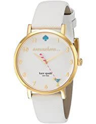 kate spade new york Womens 1YRU0765 Metro White Watch With White Leather Band