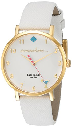 kate spade new york Women's 1YRU0765 Metro White Watch With White Leather Band
