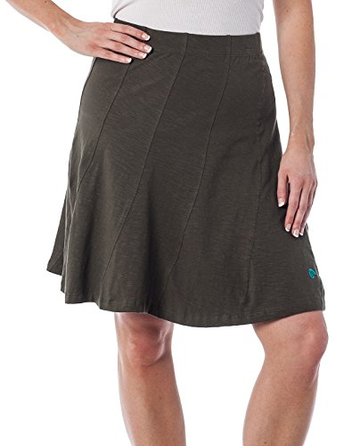 Mid Length Stretch Skirt (Alki'i Bella Skirt with multi panel scallop seam and Elastic Waistband , Olive)