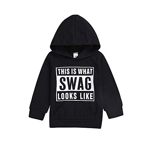 2018 Clearance!! Kids Baby Boys Girls Hooded Pullover Sweatshirt,Casual Simple Letter Tops Blouse Hoodie Pockets (Black-Letter, 2-3 - Ballet Jumper