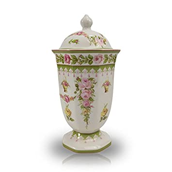 OneWorld Memorials Tea Roses Ceramic Cremation Urn – Small – Holds Up to 50 Cubic Inches of Ashes – Pink Ceramic Urns – Engraving Sold Separately