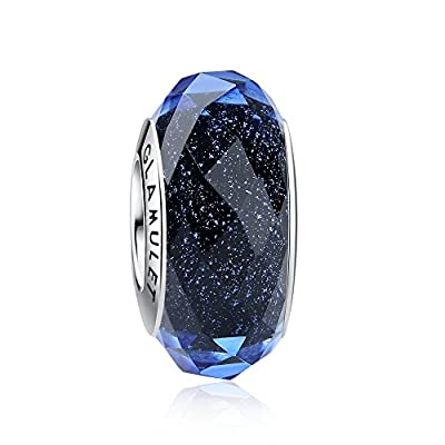 Glamulet Jewelry 925 Sterling Silver Fascinating Crystal Faceted Glass Bead Charm Fits Pandora Bracelet by Glamulet