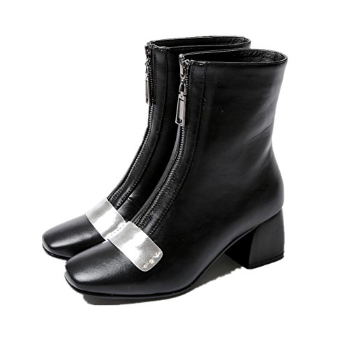 Mujeres Tobillo Botas Zapatos Otoño Invierno Negro Cabeza cuadrada Talón áspero Trabajo de fiesta tamaño 35-42 Black