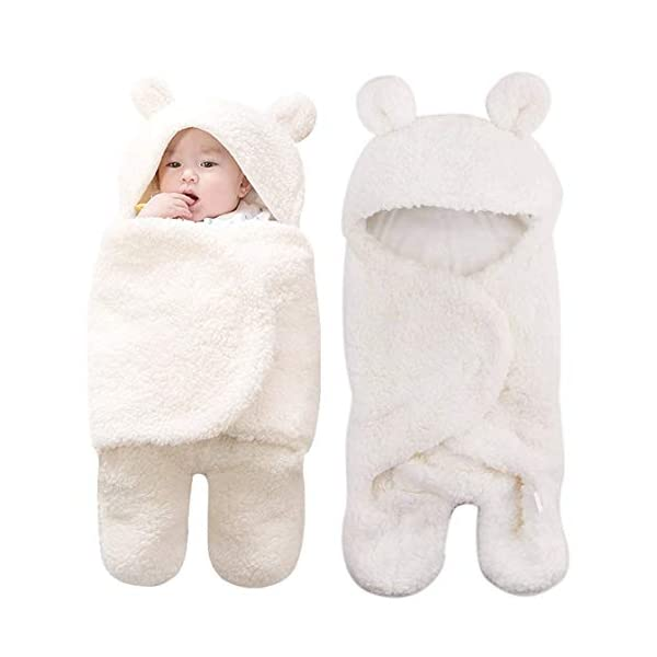 Kingrol Baby Adjustable Wearable Plush Swaddle Blanket, for Newborn Baby Boys Girls White