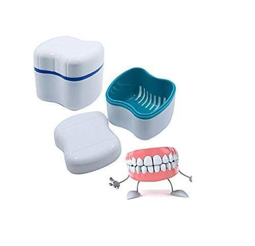 Gwill - 2 piezas de estuche de dentadura de viaje con tapa de plástico para dentadura con cesta dental falsa de dientes caja de almacenamiento contenedor de limpieza de taza soporte de lavado colador boca protector